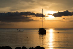 Twilight scene of boat with cloudy sky. At Koh Phangan, Suratthani, Thailand Royalty Free Stock Images