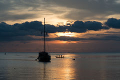 Twilight scene of boat with cloudy sky. At Koh Phangan, Suratthani, Thailand Stock Photography