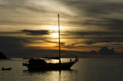 Twilight scene of boats. Boats in the sunset time Royalty Free Stock Image