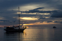 Twilight scene of boats. Boats in the sunset time Stock Image