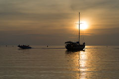 Twilight scene of boats. Boats in the sunset time Stock Photos