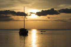 Twilight scene of boats. Boats in the sunset time Stock Photo