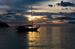 Twilight scene of boats. Boats in the sunset time Stock Images