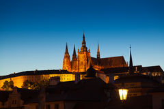 Twilight scene of Prague and St Vitus cathedral and castle in th Royalty Free Stock Photos