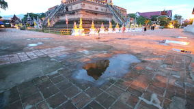 Twilight scene of Wat Chedi Luang, Thai temple, Chiang Mai, Thailand. (Panning stock video