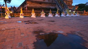 Twilight scene of Wat Chedi Luang, Thai temple, Chiang Mai, Thailand. (Panning stock video footage