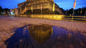 Twilight scene of Wat Chedi Luang, Thai temple, Chiang Mai, Thailand stock footage