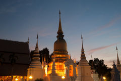 Twilight scene of Wat Suan Dok temple in Thailand. Royalty Free Stock Photography