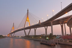 Twilight scenery of Bhumibol Bridge Royalty Free Stock Image