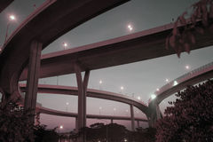 Twilight scenery of Bhumibol suspension bridge in Bangkok City. Royalty Free Stock Photo