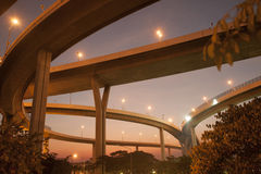Twilight scenic view of The Bhumibol Bridge. Royalty Free Stock Images