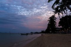 Twilight Seaview with coconut trees and beachfront boat.  Stock Photos