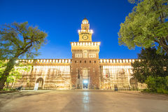 Twilight of Sforza Castle in Milan, Italy Stock Photos