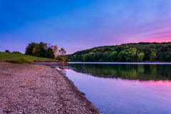 Twilight on the shore of Long Arm Reservoir, near Hanover, Penns Royalty Free Stock Images