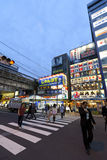Twilight shot of Akihabara shopping area Stock Photos