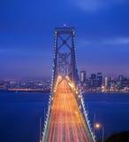Twilight Shot of Bay Bridge. OAKLAND, CA - JUNE 10, 2015: The San Francisco–Oakland Bay Bridge is a complex of bridges spanning San Francisco Bay in California Stock Photography