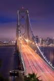 Twilight Shot of Bay Bridge. OAKLAND, CA - JUNE 10, 2015: The San Francisco–Oakland Bay Bridge is a complex of bridges spanning San Francisco Bay in California Royalty Free Stock Photo