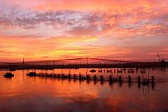 Twilight at shrimp pond Royalty Free Stock Image