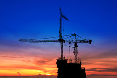 Twilight and silhouette construction Royalty Free Stock Image