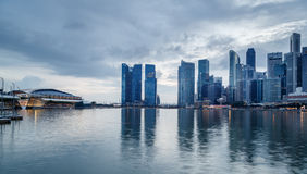 Twilight In Singapore City Royalty Free Stock Photos