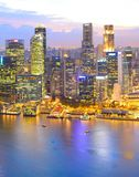 Twilight Singapore Downtown aerial view royalty free stock images