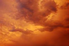 Twilight Sky. Twilight Orange Golden Sky before the Rain Stock Photography