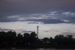 Twilight sky with Cell phone towers Royalty Free Stock Photo