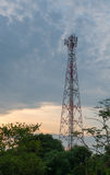 Twilight sky with Cell phone towers Royalty Free Stock Images