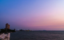Twilight sky with colorful sunset and clouds at beach Royalty Free Stock Photography