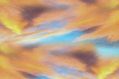 Twilight sky with effect of light pastel tone. Colorful sunset of soft clouds stock photo