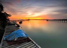 Twilight sky at fisherman village Stock Photos