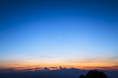 Twilight sky with the moon Royalty Free Stock Photo
