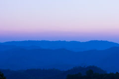 Twilight sky of mountain view at chiang dao, Thailand Royalty Free Stock Photo