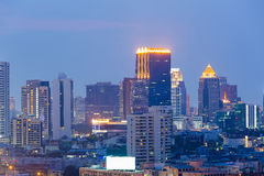 Twilight sky over Bangkok city office building Royalty Free Stock Photo