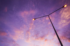 Twilight sky with road lighting Stock Image