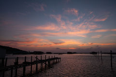Twilight sky. Sunset, sun down, sea of Thailand Royalty Free Stock Images