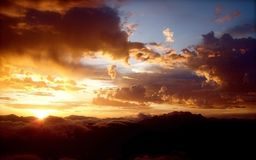 Twilight sunset cloudy sky royalty free stock photography