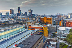 Twilight skyline of city of London and Thames river, Great Britain Royalty Free Stock Images