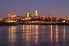 Twilight Skyline of Kansas City Stock Image