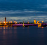 Twilight in St. Petersburg, Russia Royalty Free Stock Photos