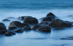 Twilight stones. Baltic sea, Russia. Summer, 2013 Royalty Free Stock Photos