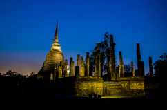 Twilight at Sukhothai historical park. Sukhothai, Thailand. Royalty Free Stock Image