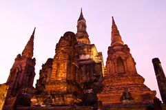 Twilight at sukhothai historical park,Thailand Stock Photography