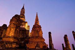 Twilight at sukhothai historical park,Thailand Stock Photos