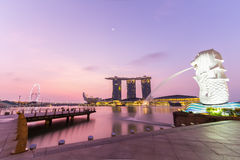 Twilight before sunrise at Merlion Royalty Free Stock Images
