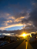 Twilight Sunset Highway Traffic Royalty Free Stock Photos