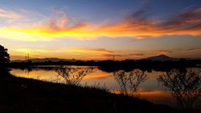 Twilight sunset lake landscap view Royalty Free Stock Photos