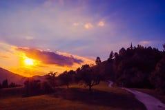 Twilight sunset on mountain Royalty Free Stock Photo