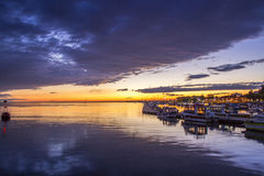 Twilight sunset at Ria Formosa wetlands natural conservation reg Stock Photography
