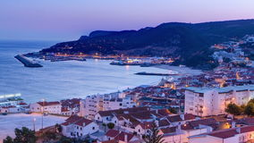 Twilight after sunset in Sesimbra, Portugal stock footage